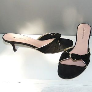 Anne Klein Black Kid Suede Kitten Heel Mule Sandal